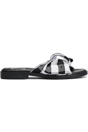 MIISTA Valerie bow-embellished printed canvas slides