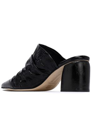 MIISTA Mathilde ruched crinkled glossed-leather mules