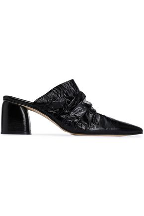 MIISTA Ruched crinkled glossed-leather mules