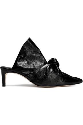 MIISTA Knotted cracked patent-leather mules
