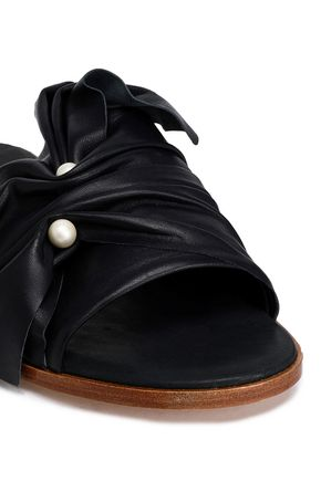 MIISTA Embellished ruched leather slides