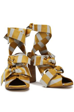 MIISTA Knotted striped woven sandals