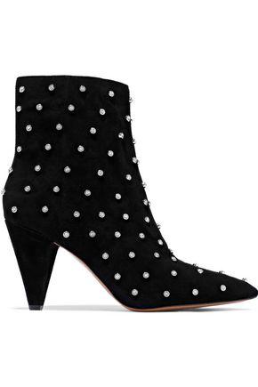 ALICE + OLIVIA Raken crystal-embellished suede ankle boots