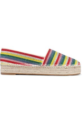 ALICE + OLIVIA Dalyn crystal-embellished striped suede platform espadrilles