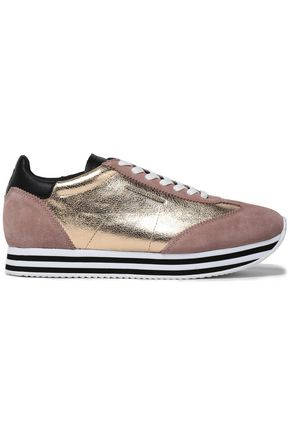 REBECCA MINKOFF Metallic textured-leather and suede sneakers