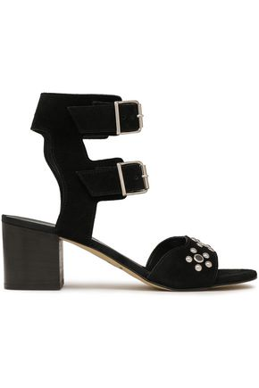 REBECCA MINKOFF Buckled studded suede sandals