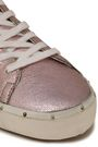 REBECCA MINKOFF Studded metallic cracked-leather sneakers
