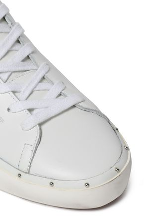 REBECCA MINKOFF Laser-cut smooth and metallic textured-leather sneakers