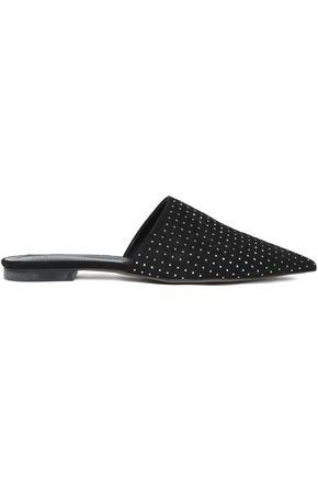 REBECCA MINKOFF Crystal-embellished suede slippers