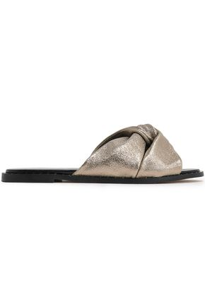 REBECCA MINKOFF Studded metallic-leather sandals