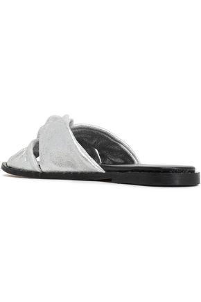 REBECCA MINKOFF Studded metallic-leather sandals