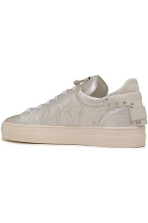 REBECCA MINKOFF Embellished metallic cracked-leather sneakers