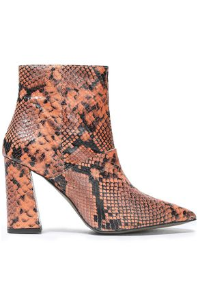 REBECCA MINKOFF Snake-effect leather ankle boots