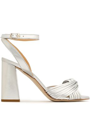 REBECCA MINKOFF Knotted mirrored faux leather sandals