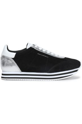 REBECCA MINKOFF Metallic leather-paneled suede sneakers