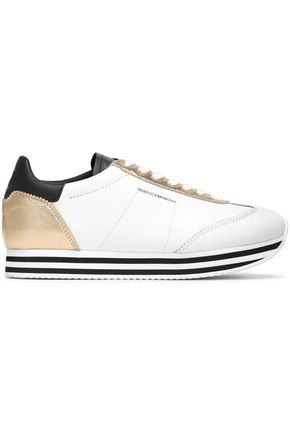 REBECCA MINKOFF Metallic-paneled leather sneakers