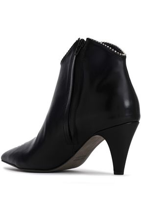 REBECCA MINKOFF Chain-embellished leather ankle boots