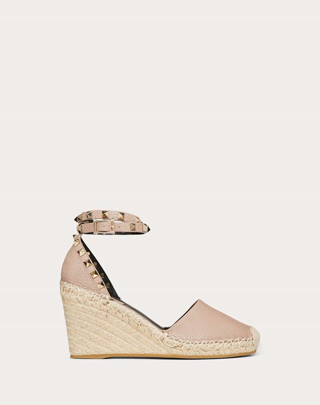 Rockstud Double Grainy Calfskin Leather Wedge Espadrille 65 mm