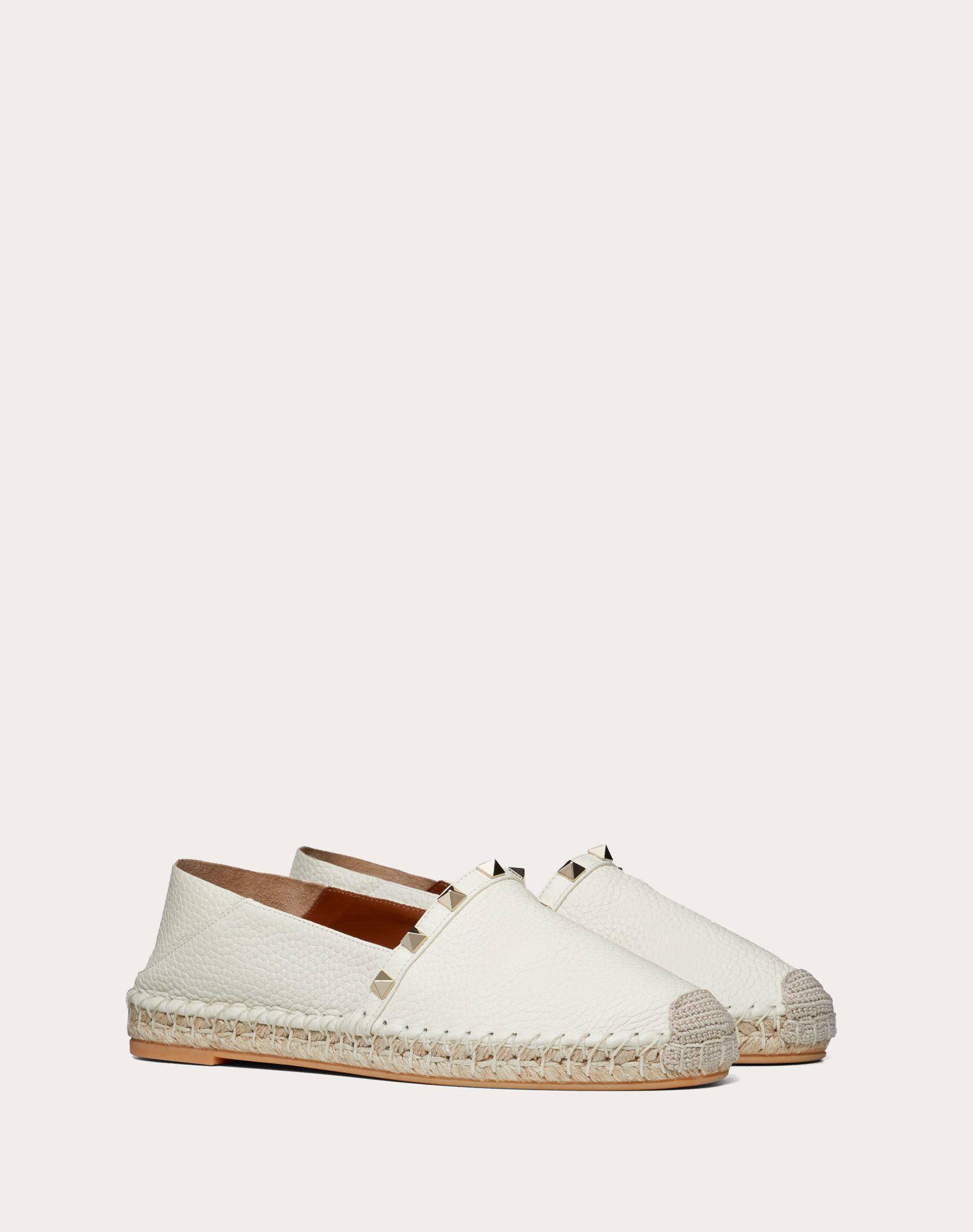 Rockstud雙粒面小牛皮帆布鞋