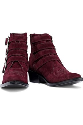 TOGA PULLA Buckled glossed-leather ankle boots