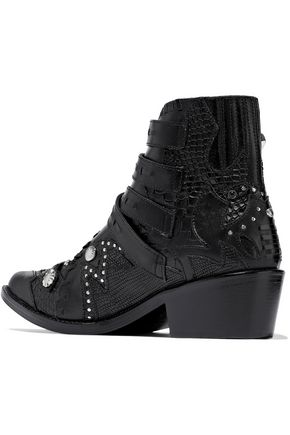 TOGA PULLA Studded smooth, lizard-effect and croc-effect leather ankle boots