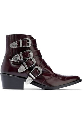 dcd6e350466f2 TOGA PULLA Buckled glossed-leather ankle boots