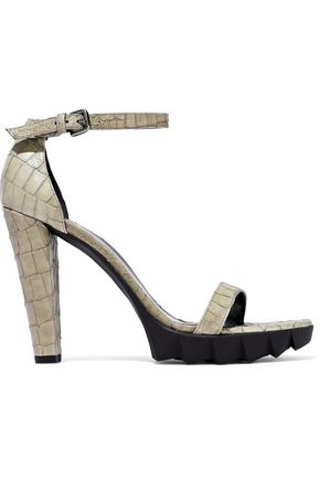 STUART WEITZMAN Croc-effect leather platform sandals