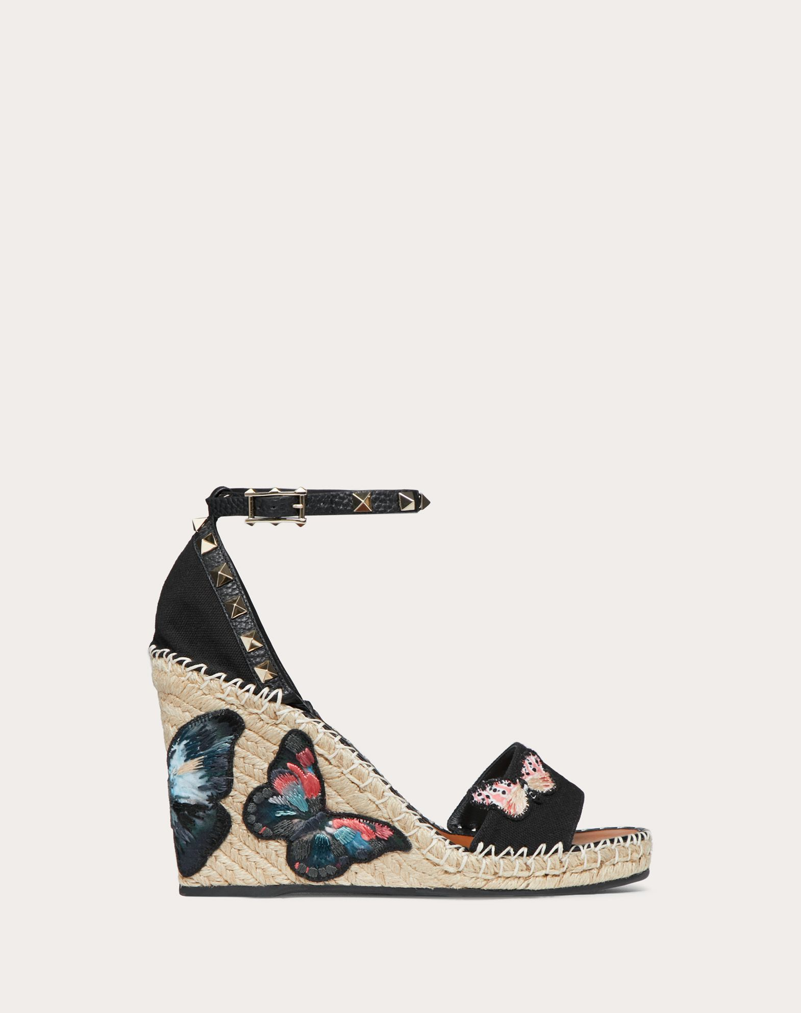 Embroidered Butterfly Canvas Wedge Sandal 105 mm
