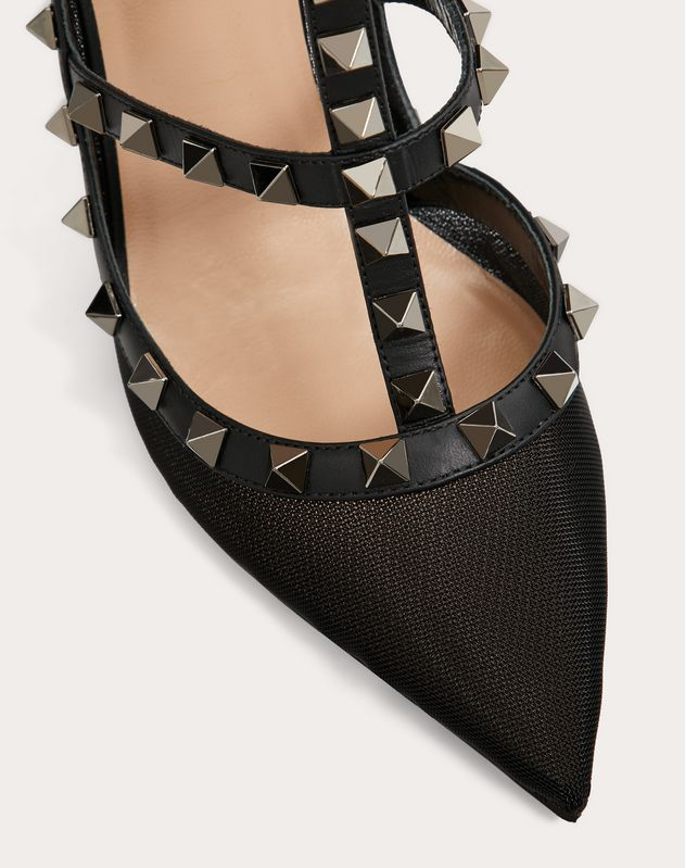 Rockstud Mesh Ankle Strap Pump 100 mm