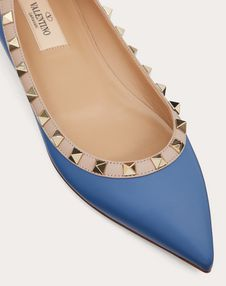 Rockstud Calfskin Leather Ballet Flat