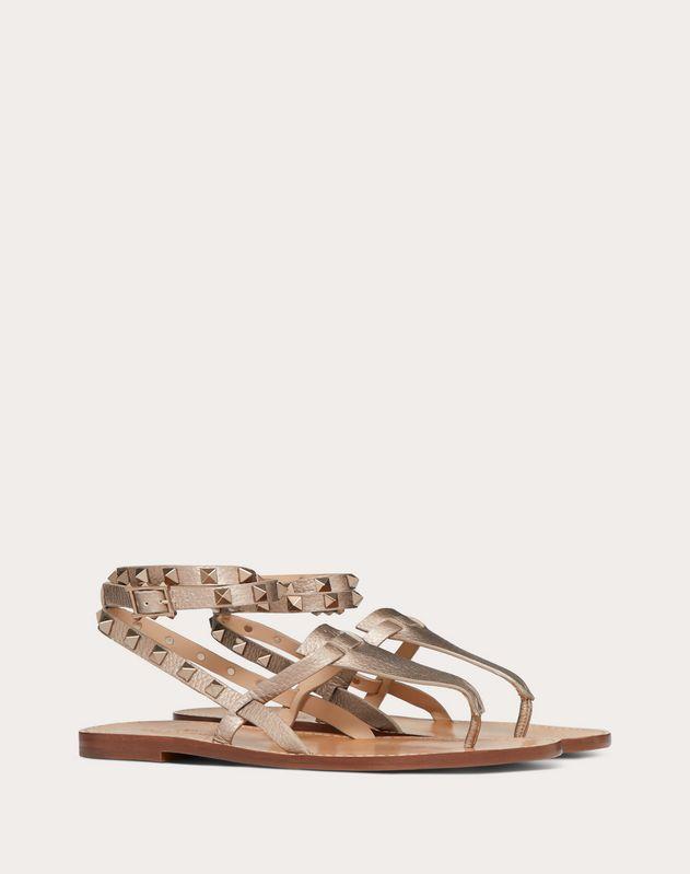 Rockstud Double Laminated Grainy Calfskin Flat Flip-Flop Sandal