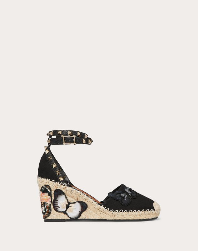 Embroidered Butterfly Canvas Wedge Sandal 85 mm