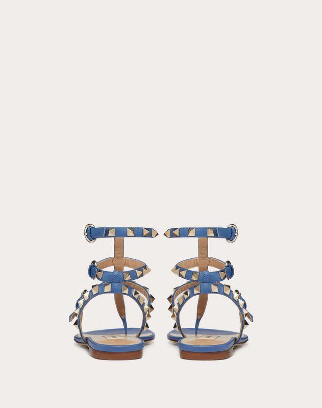 Sandales à entre-doigts basses Rockstud en veau