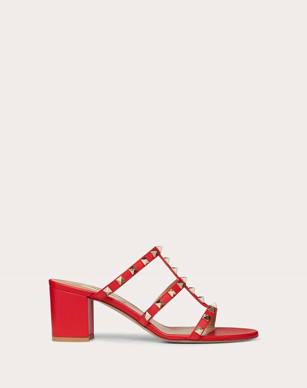 b4c93265af8 Rockstud Calfskin Leather Slide Sandal 60 mm for Woman | Valentino ...