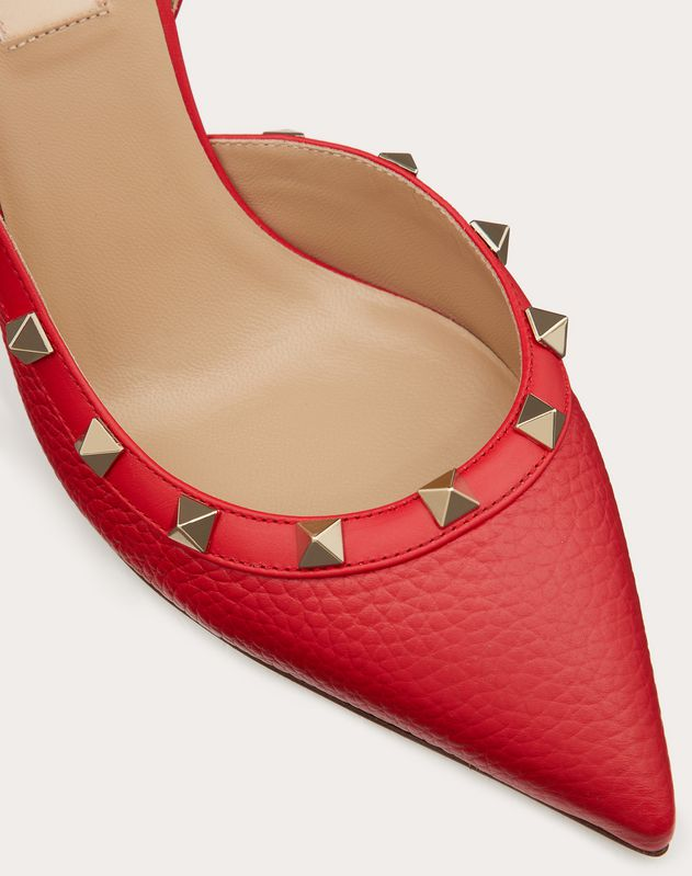 Rockstud Grainy Leather Slingback Pump 85mm