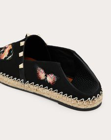 Canvas espadrille with butterfly embroidery