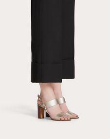 Rockstud Double Laminated Grainy Calfskin Sandal 85 mm