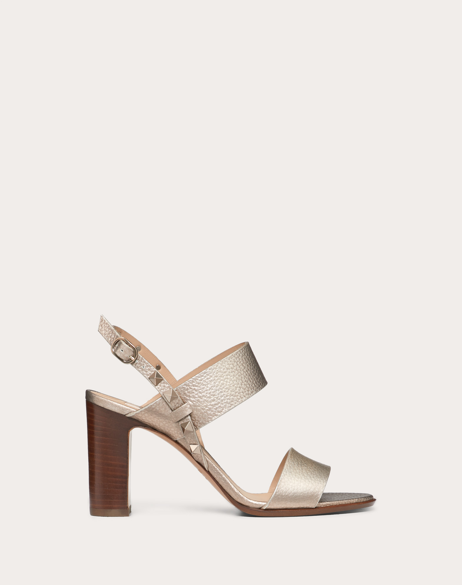 Rockstud Double Laminated Grainy Calfskin Sandal 85 mm