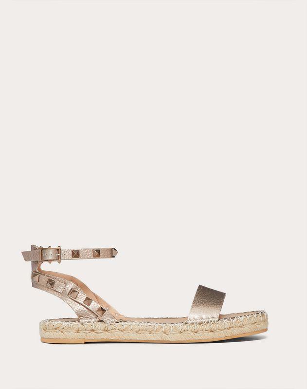 Rockstud Double Laminated Grainy Calfskin Sandal
