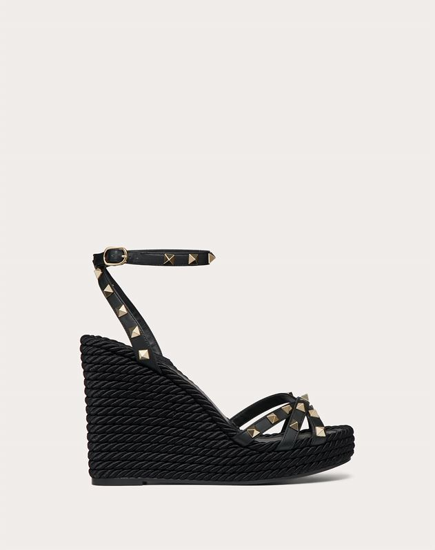 Rockstud Calfskin Ankle Strap Wedge Sandal 95 mm