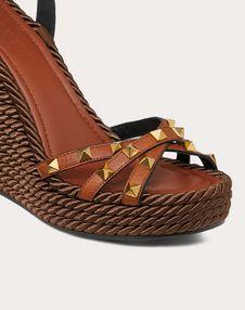 Rockstud Cowhide Ankle Strap Wedge Sandal 95 mm