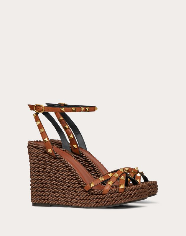 Rockstud Cowhide Ankle Strap Wedge Sandal 95 mm