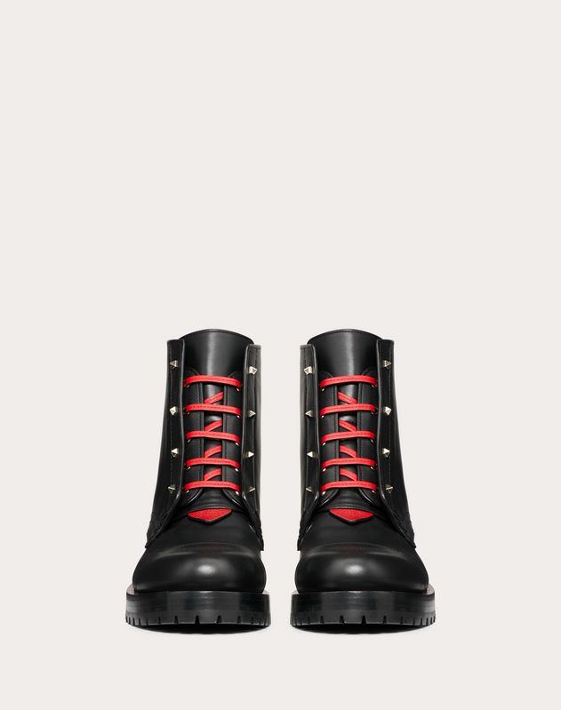 Calfskin combat boot with Karung detail 40 mm
