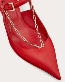Calfskin Pump with Chain Detail 45  mm