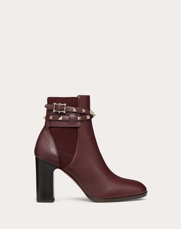 Rockstud Grainy Calfskin Ankle Boot 90 mm