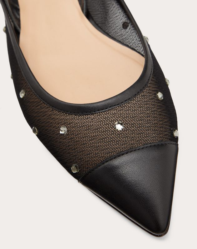 Slingback ballet flat in mesh and strass