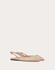 Slingback ballet flat in mesh and rhinestones
