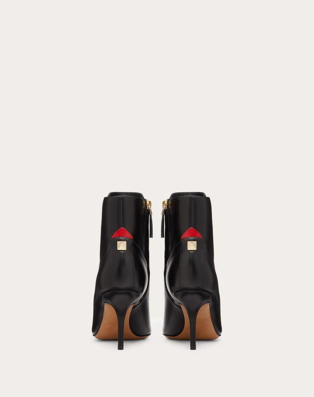 Calfskin ankle boot with Karung detail 80 mm
