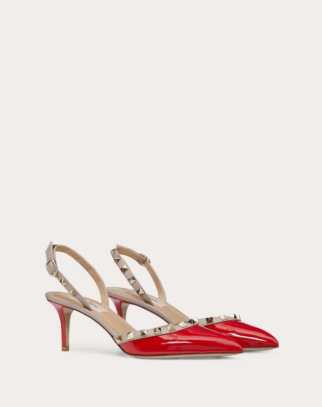 Rockstud Patent-Leather Slingback Pump 60 mm
