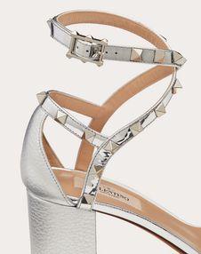 Rockstud Laminated Grainy Calfskin Sandal 60 mm